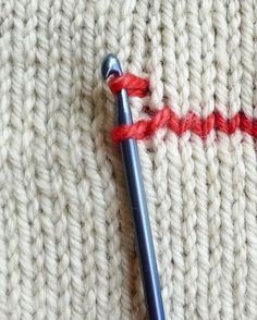 How to crochet vertical stripes on knitting - the purl bee and other interesting knitting techniques.