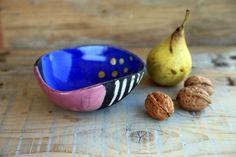 ceramic raku bowl pink and blue modern wabi sabi by BottegaKrua