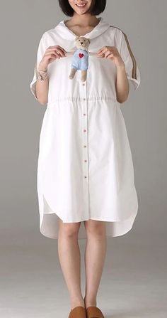 Casual Button Down Cotton Dresses Women Fashion Clothes Q8985 Modest Dresses For Women, Long Summer Dresses, White Linen Dresses, Cotton Dresses, Women's Fashion Dresses, Fashion Clothes, Mothers Dresses, Skirt, Button