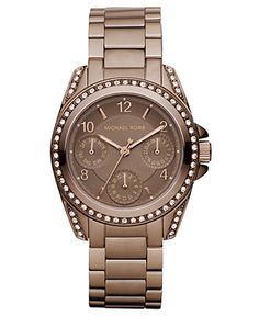 Michael Kors Watch, Women's Chronograph Blair Espresso Tone Stainless Steel Bracelet 33mm MK5614 - All Watches - Jewelry & Watches - Macy's