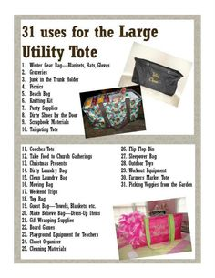 31 uses for the Large Utility Tote
