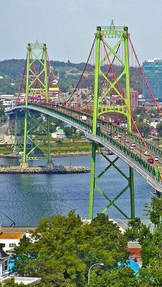 """The Angus L. Macdonald Bridge, known locally as """"the old bridge"""", is a suspension bridge crossing Halifax Harbour in Nova Scotia, Canada; it opened on April 2, 1955."""
