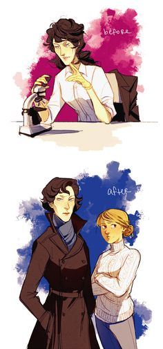 """She's Not My Date by blue-fox. // """"I don't think femlock would care enough about her physical appearance to cut her hair or put on makeup or anything, but after meeting femjohn she starts to look gradually more polished in public. I DON'T KNOW IF YOU'VE NOTICED but I'm pretty sure Sherlock looks healthier after living with John."""""""