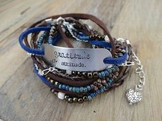 """""""Gratitude, Not Attitude"""" -  Hand Stamped Multi Strand Leather & Bead Boho Wrap by AllStrungOut925"""