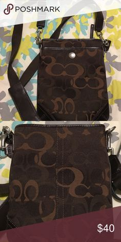 Authentic Brown Coach Crossbody Perfect condition with long strap barely worn. Authentic! Coach Bags Crossbody Bags