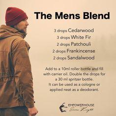 The mens blend - cedarwood, white fir, patchouli, frankincense and sandalwood