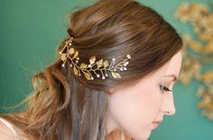 Hair Branch with Rhinestone Accents, Hair Vine, Laurel Leaf Bridal Headpiece, Greek Goddess, Rhinestone Crystal Headpiece, Gold or Silver