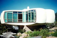 In 1957, the House of the future opened at Disneyland, constructed completely out of plastic. This was a walk-through attraction that provided a glimpse of how future living may be. There were no traditional furniture styles or natural materials in the House of the Future. Everything was ultra-modern and entirely synthetic. It was torn down in 1967 and rumor has it that the wrecking ball just bounced off the exterior!
