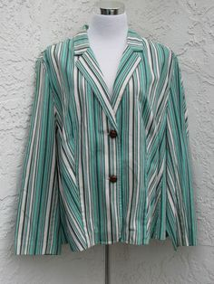 Casual Corner plus size 3X green striped blazer