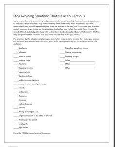 Anxiety Worksheets for Adults