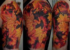 Incredible tattoo from Dmitriy Samohin. #fall #autumn leaves
