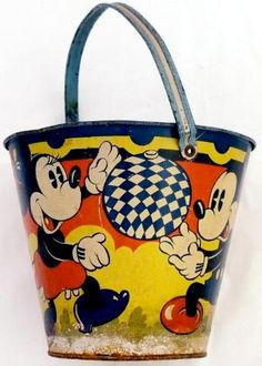 Micky and Minnie sand pail Metal NOT plastic so it survived the whole summer without falling apart!
