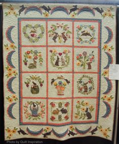 Baltimore Bunnies by Fleda Gorbea, quilted by Ann Skitt.  2014 AZQG, photo by Quilt Inspiration bunni quilt, quilt inspir, easter quilt