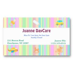 Cute Kid's & Baby Toys Daycare, Babysitter or Nanny Business Card. It's perfect for you and totally customizable!