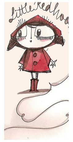 Le petit Chaperon Rouge - Little Red Riding Hood Little Red Hood, Little Red Ridding Hood, Red Riding Hood, Character Illustration, Children's Book Illustration, Charles Perrault, Psychedelic Drawings, Doodles, Tim Burton