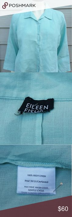 "Eileen Fisher Linen Shirt Eileen Fisher Large Robins Egg Blue Irish Linen 3/4 Sleeve Button Down Shirt Top  Length:23"" Bust:22""  Gently used with no flaws. Please see photos for exact details. Thank you for patronizing us. Eileen Fisher Tops Button Down Shirts"