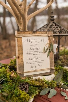 Woodland weddings are gaining popularity due to the relaxing atmosphere and feeling close to nature. Spring woodland weddings ... Wedding Table, Wedding Menu Cards, Wedding Signage, Wedding Album, Wedding Paper, Wedding Buffet Menu, Wedding Wishes, Wedding Stationery, Rustic Wedding Menu