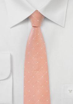 Skinny Dot Design Tie in Peach Coral