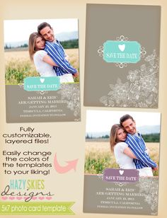 5x7 Save the Date Photo Card Template. $7.50, via Etsy.