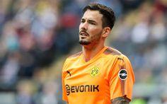 Download wallpapers Roman Buerki, Borussia Dortmund, goalkeeper, soccer, footballers, BVB, goal, Bundesliga