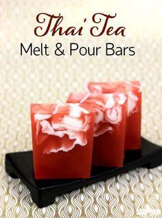 Thai Tea Melt and Pour Bars Tutorial - Soap Queen Thai Tea Melt and Pour Bars Tutorial<br> These Thai Tea Melt and Pour Bars feature a gorgeous swirl reminiscent of freshly poured cream. Soap Melt And Pour, Soap Tutorial, Thai Tea, Homemade Soap Recipes, Diy Bar, Lotion Bars, Handmade Soaps, Diy Soaps, Shampoo Bar