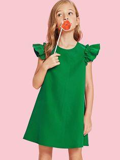 Product name: Girls Ruffle Armhole Trapeze Dress at SHEIN, Category: Girls Dresses Dress P, Baby Dress, Girls Party Dress, Girls Dresses, Shein Pull, Blouse Peplum, Fashion News, Kids Fashion, Men Fashion