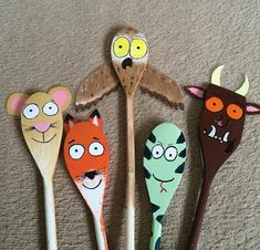 the gruffalo wooden spoons Gruffalo Activities, Gruffalo Party, Eyfs Activities, Nursery Activities, The Gruffalo, Activities For Kids, Art For Kids, Crafts For Kids, Arts And Crafts