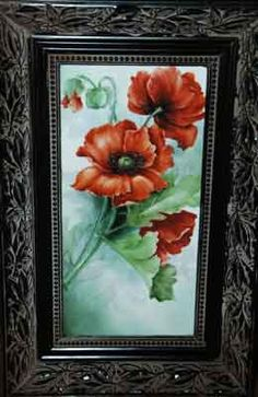 Painting of poppies on porcelain tile by porcelain artist and china painting teacher, Jane Wright.