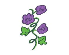 Flowers Violets Embroidery Pattern by OCDEmbroidery on Etsy