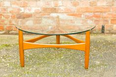 Vintage round glass top coffee table g plan style danish retro stunning by TomahawkFurniture on Etsy Find Furniture, Vintage Furniture, Outdoor Furniture, Outdoor Decor, Danish Style, Glass Top Coffee Table, Teak, Round Glass, Scandinavian