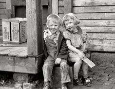 "Winsome Ragamuffins II  April 1940. Dubuque, Iowa. ""Children who live in the slums."" Our second look at this towheaded twosome, a sort of proto-Opie and his sister. 35mm nitrate negative by John Vachon for the Farm Security Administration."