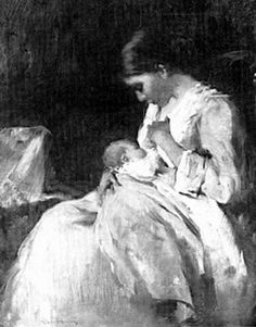 """""""Mother and Child"""" by Mary Curtis Richardson (1848 – 1931) #painting"""