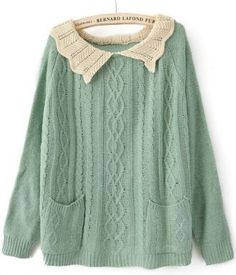 Green Lapel Long Sleeve Pockets Pullovers Sweater