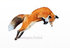 red fox original watercolor painting jumping by paintingbyZofiaL
