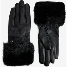 Ted Baker Fur Lined Leather Glove ($135) ❤ liked on Polyvore featuring accessories, gloves, black, ted baker, black leather gloves, black gloves, fur lined gloves and leather gloves