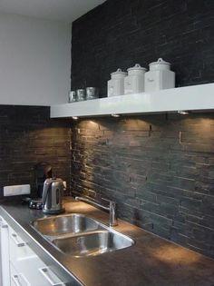 Stone in Kitchen Stone Kitchen, Kitchen Dinning, Kitchen Backsplash, Dining Room, Grey Kitchens, Home Kitchens, Dyi Kitchen Ideas, Kitchen Interior, Kitchen Design