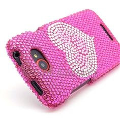 Click Image to Browse: $8.95 Hot Pink Heart Bling Rhinestones Hard Case Cover For HTC One S