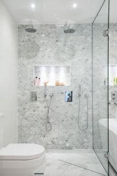 Bathroom with fish scale tiles, oak vanity, Carrara marble bowl, round mirror an… – Marble Bathroom Dreams Bathroom Inspiration, Bathroom Interior, Fish Scale Tile Bathroom, Carrara Marble Bathroom, Bathroom Design, Condo Bathroom, Tile Bathroom, Bathroom Shower Tile, Shower Wall