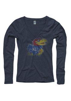 Kansas Jayhawks T-Shirt - Midnight Jayhawks Fade Out Long Sleeve Tee http://www.rallyhouse.com/kansas-jayhawks-womens-midnightblue-fade-out-long-sleeve-t-shirt-22780261?utm_source=pinterest&utm_medium=social&utm_campaign=Pinterest-KUJayhawks