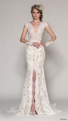EUGENIA COUTURE Fall 2016 bridal cap sleeves deep plunging v neck illusion sleeves lace embroidered / http://www.deerpearlflowers.com/deep-plunging-v-neck-wedding-dresses/2/
