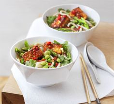 Japanese Tofu noodle bowl with asparagus, edamame beans and ginger.(may do broccoli instead of asparagus) LOVE EDAMAME!