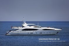 Racy Sunseeker Predator 130 at anchor near Cannes