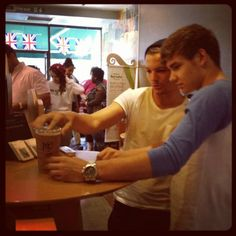 Louis and Liam at Starbucks