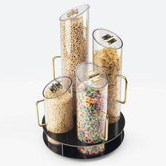 Cal Mil 723 4 Bin Turntable Cereal Dispenser with Black ABS Base Kitchen Items, Kitchen Utensils, Kitchen Gadgets, Kitchen Decor, Kitchen Appliances, Breakfast Station, Breakfast Buffet, Dollar Tree Organization, Kitchen Organization