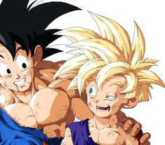 Goku and Gohan. I love this piece because it shows even though their all beat they still have a smile on their face.