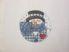 $14.95  Blue Snowman Christmas Ornament Handpainted Needlepoint Round Canvas