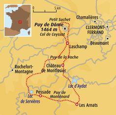 Circuit carte France : Découverte des volcans d'Auvergne Mont Dore, Clermont, Coin, Trail, Destinations, How To Plan, Travel Checklist, France Map, Volcanoes