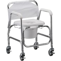 Shower Commode Chair with Wheels #DisabilityLiving >> Learn more at http://www.disabledbathrooms.org/handicap-shower-chair.html