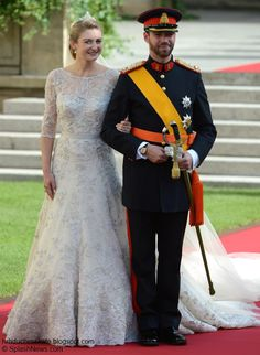 Prince Guillaume of Luxembourg and Belgian Countess Stephanie De Lannoy on their wedding day.