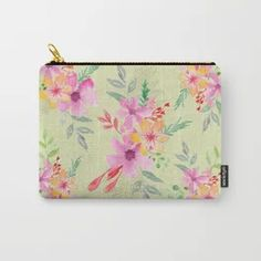 Bouquet of flowers - green Carry-All Pouch Tech Accessories, Bouquet, Pouch, Wall Art, Yellow, Unique, Green, Flowers, Bags